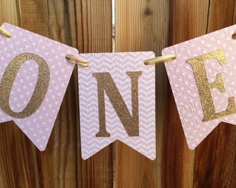 High Chair banner, One banner, pink high chair, 1st Birthday, pink birthday high chair, pink and gold birthday