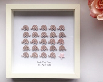 "New Baby Personalised 3D ""Marching Elephants"" Frame - New Baby - Nursery Decor - Christening - Nursery - Wall Art"
