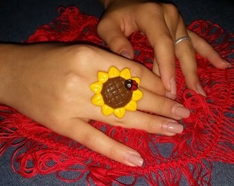 Ring fimo sunflower