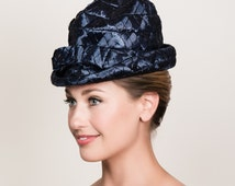 1960s Navy Straw Vintage Hat with High Crown and Narrow Brim