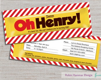 Candy Invite, Oh Henry Invitation, Candy Party Invite, Oh Henry Invite, Candy Birthday Invitation, Candy Birthday Party, Sweets Party
