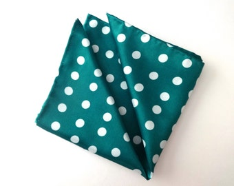Turquoise Green Pocket Square, Polka Dot Pocket Square, Mens Pocket Square, Wedding Pocket Square, Handkerchief