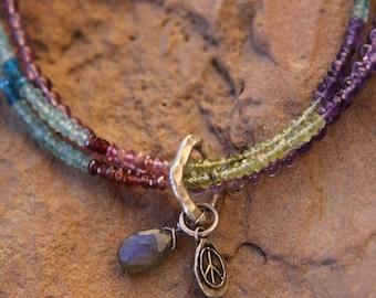 Semi Precious Gemstone Multi-Strand Necklace with Artisan Silver Peace Charm