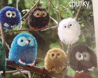 King Cole tinsel chunky owls knitting pattern 9022