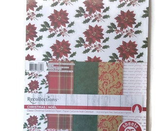 Christmas Poinsetta, Red Plaid, Green, Gold and Red Demask and Script Cardstock Scrapbooking