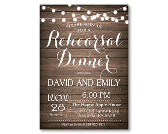 Rustic Rehearsal Dinner Invitation. Rehearsal Dinner Invite. Wood Background. String Lights. Western. Country. Printable Digital.