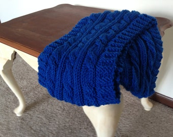 Handmade Cable-Knitted Wool Scarf in Royal Blue