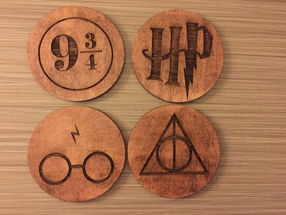 Harry Potter Symbols Wood Coasters