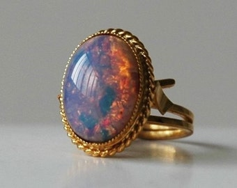 Faux opal and gold vintage ladies dress ring