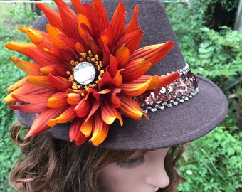 Fedora Brown  with a Brown and Silver Hat Band with Orange Flower with a Large Rhinestone Center