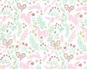 Magic Folk White Gold METALLIC - Sarah Jane Michael Miller - Unicorn Pink Aqua - Quilting Cotton Fabric - by the yard fat quarter half