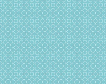 Mini Quatrefoil Aqua by Riley Blake Designs - Blue - Quilting Cotton Fabric - by the yard fat quarter half