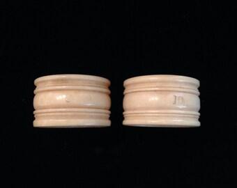 Antique bone napkin rings.