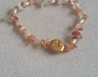 citrine carnelian and pearl bracelet