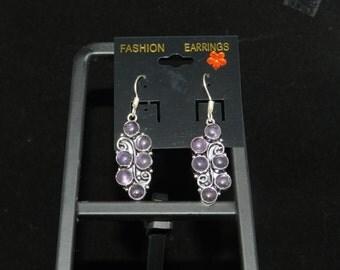Amethyst Charm Dangle Earrings
