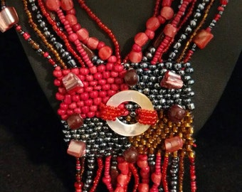 Red Abstract Beaded Necklace
