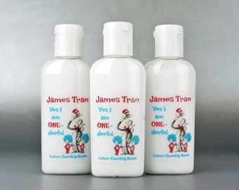 Personalized. Dr. Seuss 1st birthday. 1oz lotion