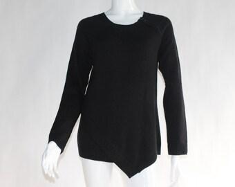 Vintage Knitted Black Sweater - Size MEDIUM
