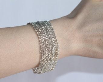 "Vintage Multi-Strand Bracelet - 11 Chain Strands - Size 1"" x 6"" (2.5cm x 15cm)"