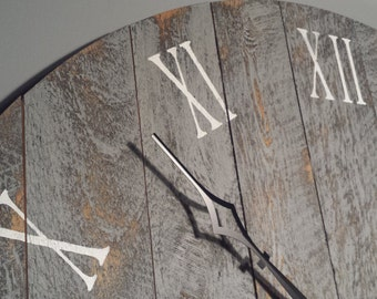 "Large Wall Clock, 36"" Rustic grey with roman numerals, made from rough cut and distressed to give it that reclaimed, barn wood look."