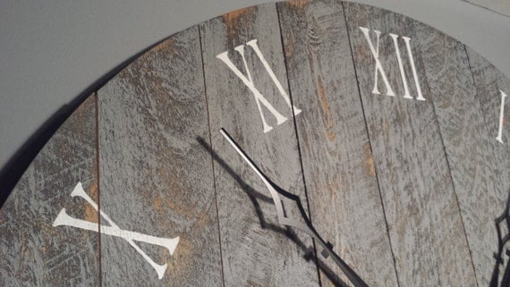 large wall clock 36 rustic grey with numerals