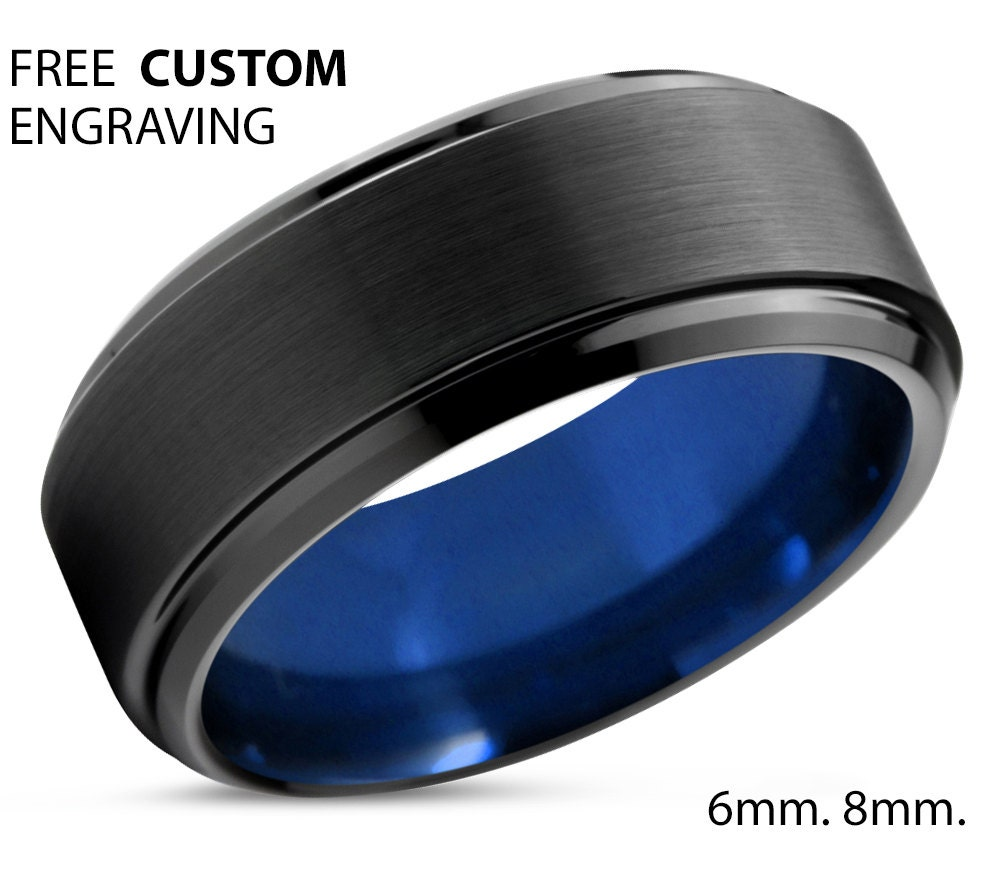 tungsten ring mens black blue wedding band by bellyssajewelry. Black Bedroom Furniture Sets. Home Design Ideas