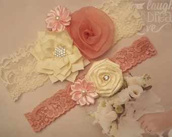 Dusty Rose and Cream Wedding Garter,Cream and Dusty Rose Garter Set,Pink Cream and Dusty Rose Garter,Made to Order Garters,Plus size Garters