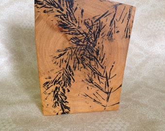 Pine Needles Monoprint on Wood