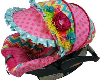 Custom Car Seat Covers, 4 Pc Set Baby Car Seat Covers, Chevron Infant Car Seat Covers, Baby Girl Infant Carseat Covers, Car Seat Covers Baby