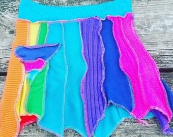Upcycled rainbow pixie skirt XXS
