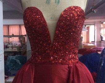 Red Sweetheart Neckline Ball Gown Pageant dress