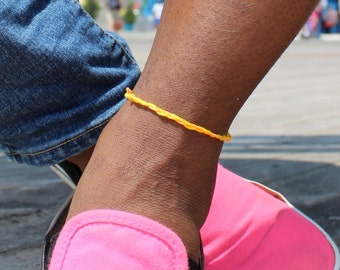 Orange and Yellow Friendship String Anklet