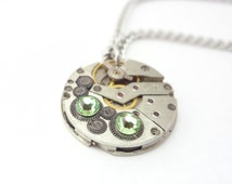 Steampunk Necklace Clockwork Jewelry With Green Crystals