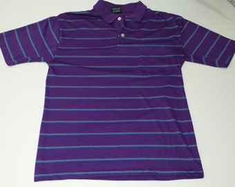 Vintage Retro  80's thin Men's size M Short Sleeve Chesterfield purple striped 2 button Golf style shirt