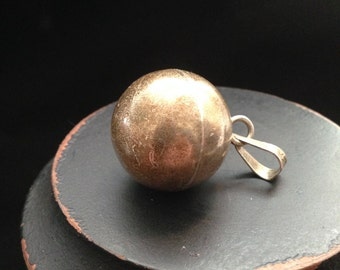 Unique Sterling silver round ball bell, musical pendant.