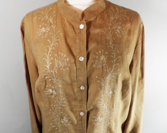 Vintage Laura Ashley Classic Sandy Brown Linen Embroidered Coat  Size M