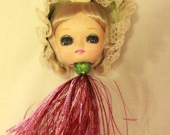 Vintage Doll Head Kitschy Upcycled Christmas Ornament Sparkles Tassel