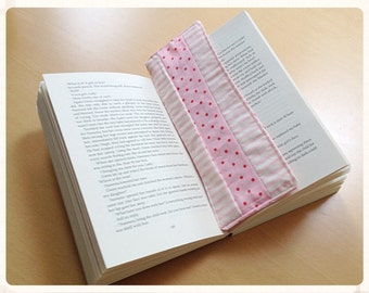 Fabric pink spotty bookmark
