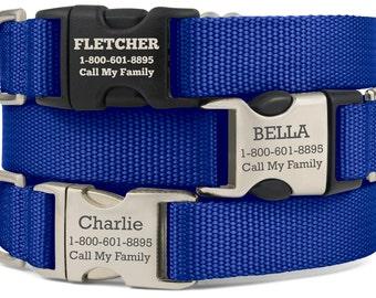 Personalized Dog Collar, Custom Dog Collar, Engraved Dog Collar, Custom Dog ID Tag, Custom Dog Tag, Dog Presents, Dog Accessories, Blue