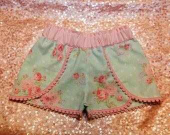 Girl's Coachella Shorts, Pocket Full of Roses Collection, Spring Shorts, Summer Shorts, Toddler Shorts, Girl's Shorts, Children's Clothes