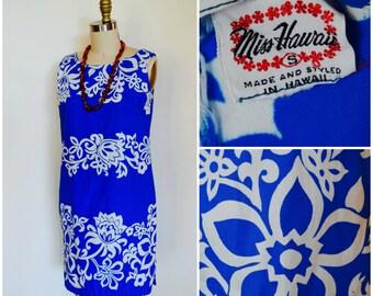 Vintage 1950s Hawaiian Dress/ 50s Miss Hawaii Sun Dress/ Tropical Blue Aloha Floral Summer Dress/ Beach Cover Up/ Kamehameha Garment Co.
