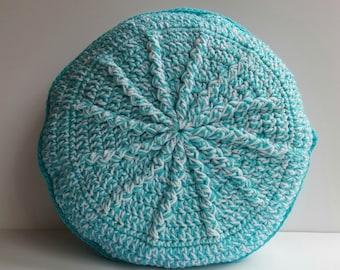 Crochet Round Pillow   Throw Pillow   Handmade Pillow   Pillow   Decorative  Pillow