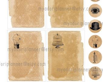 Steampunk planner insert/sticker sheet