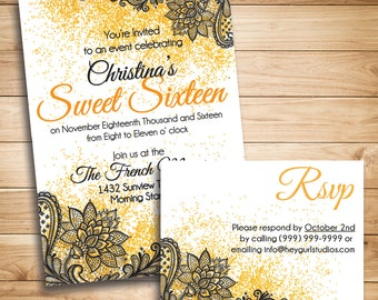 Gold and Lace Sweet 16/Birthday Invite
