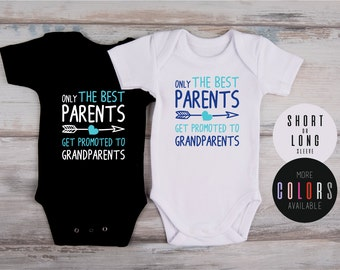 PREGNANCY ANNOUNCEMENT to GRANDPARENTS, Pregnancy Reveal Idea, New Grandparents, Only The Best Parents Get Promoted To Grandparents Bodysuit