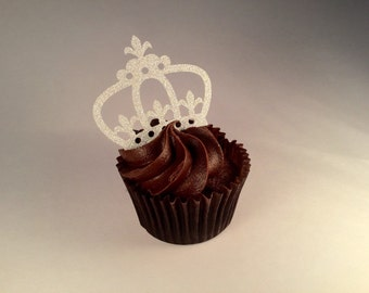 Silver glitter crown princess cupcake toppers baby girl disney first birthday bachelorette hen party decor