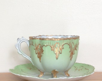Unique Mint Green and Gold Footed Teacup and Saucer