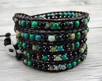 5 Row Leather wrap Bracelet Green African Turquoise Bead Bracelet 5 Wrapped Multi Colors Bracelet Gypsy Beaded Bracelet BOHO Jewelry SL-0069