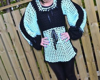 Knitted Tunic, Crochet Tunic, Lace Tunic,Celadon Dress, Crochet Dress, Romantic Dress, Beach Woman Tunic,Woman Dress,Celadon Tunic,