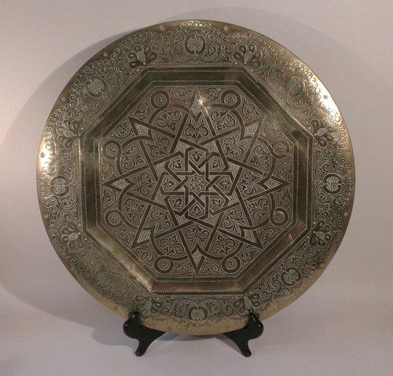 Plaque en laiton vintage grande plaque de laiton marocaine - Plaque de laiton ...